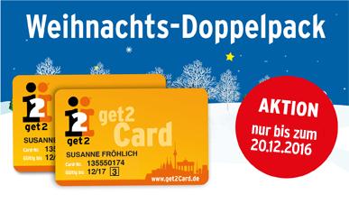 [Berlin] get2card wieder im Weihnachtsangebot 2 zum Preis von einer Karte (z.B. Subway 2for1 ganzjährig und weitere Angebote)