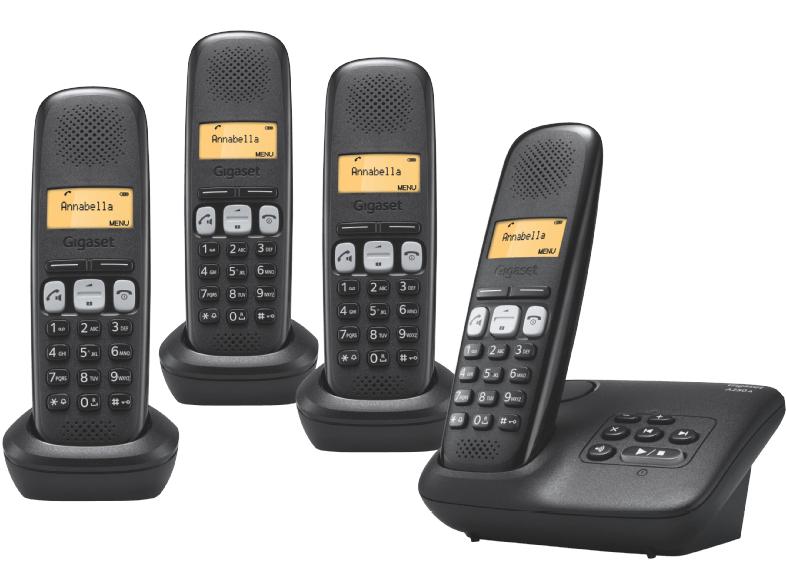 GIGASET A250A Quattro für 55€bei Saturn - 4 Mobilteile + Anrufbeantworter fürs Festnetz
