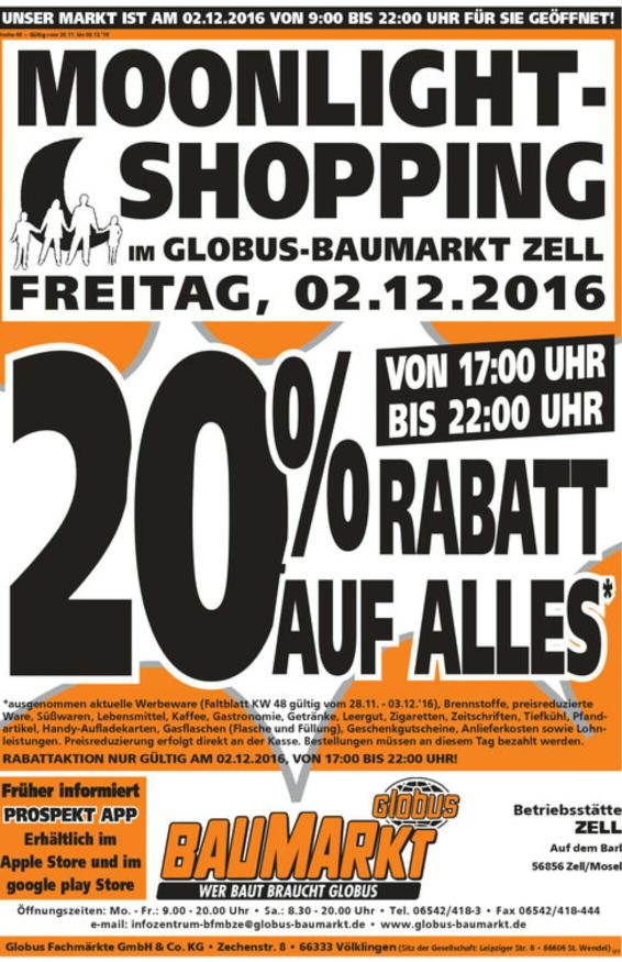 Globus Baumarkt in Zell 20% auf alles am 2.12.16
