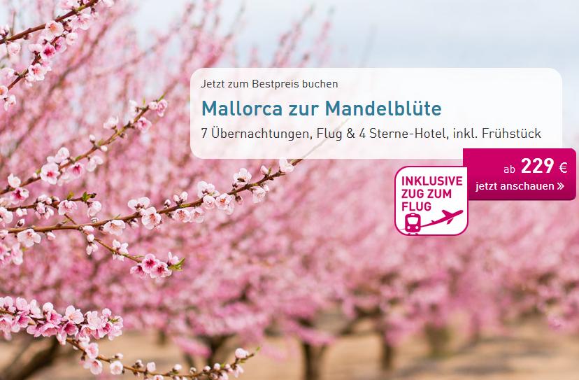 Mallorca zur Mandelblüte (2 Personen > 7 Nächte im 4*Hotel mit 97% HolidayCheck // Direktflüge inkl. Gepäck // Zug zum Flug // Transfer // ...) >>> Jan bis März '17 (206€ / Person)
