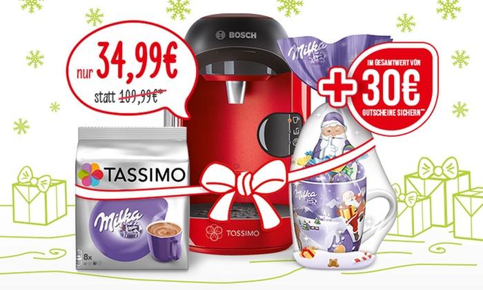 (Groupon) TASSIMO VIVY inkl. 30-€-Gutscheine, Milka Weihnachtsbecher und T Discs Choco Milka inkl. Versand (68% sparen*)
