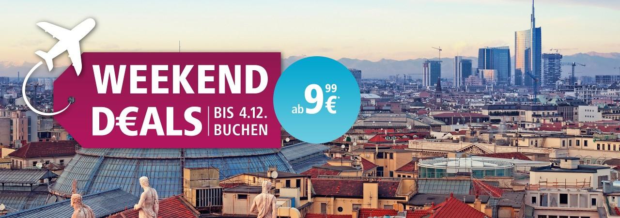 Eurowings Weekend Deals mit Flügen ab 9,99 Euro pro Strecke