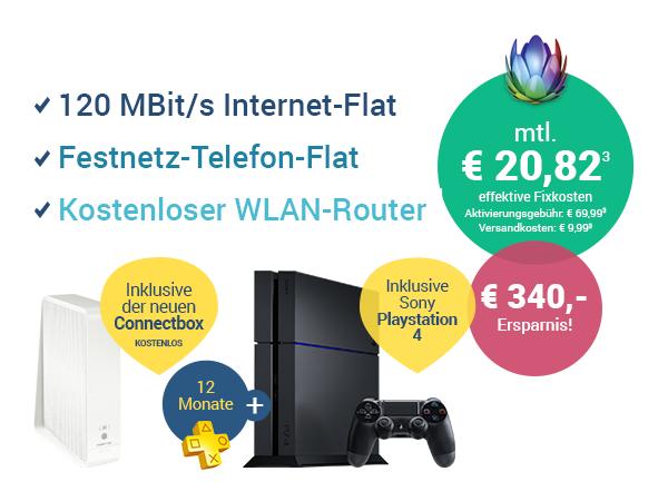 [Unitymedia] 2play Comfort 120 + Playstation 4 + € 100,- Cashback
