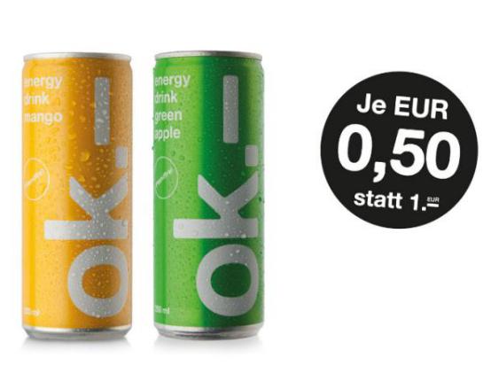 Bei vielen Kiosks und Buchläden: ok.- Energy Drink Green Apple und Mango für je 50 Cent (250 ml, pfandfrei)