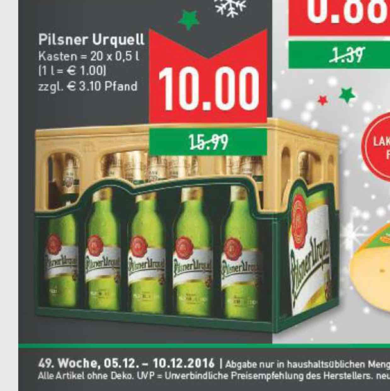[Marktkauf Rhein-Ruhr] Pilsener Urquell 20x0,5 Liter für 10€ zzgl. 3,10€ Pfand vom 5.12-10.12.2016