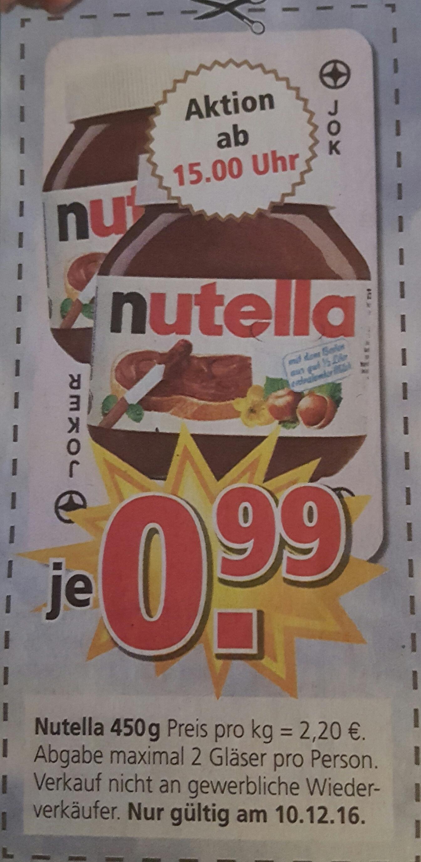 Nutella 450 g für 0,99 €/St. am 10.12.16 bei Möbel Kempf in Bad König (Lokal)