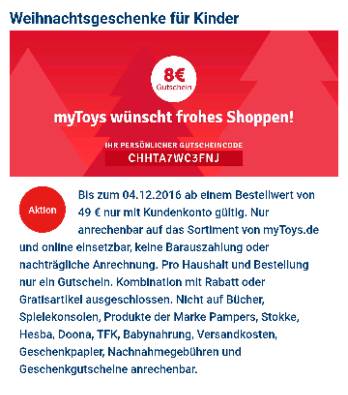 mytoys.de 8€ Gutschein bei 49€ MBW mit Kundenkonto
