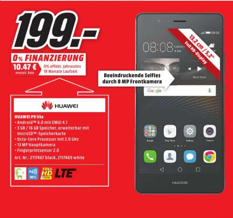 "[Lokal Mediamarkt Porta Westfalica] Huawei P9 lite schwarz. 3GB Ram, (5,2"") FHD Display, Android 6.0, 2.0GHz Octa-Core, 13MP Kamera, Dual-SIM für 199,-€"