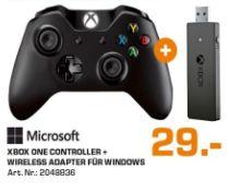 [Lokal Saturn Hamburg/Norderstedt] Microsoft Xbox One Wireless Controller + Drahtlosadapter für Windows (schwarz) für 29,-€