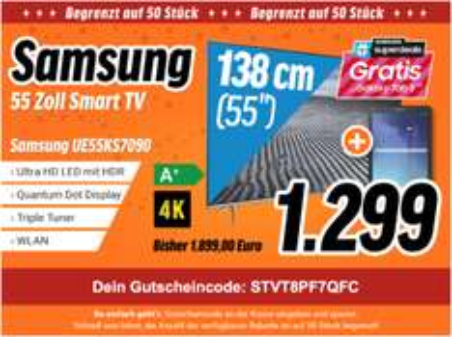 Samsung UE55KS7090 + Samsung Galaxy Tab E per Cashback