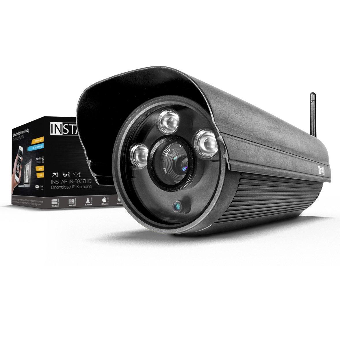 INSTAR IN-5907HD Wlan IP Kamera / HD Sicherheitskamera für Außen / IP Cam mit LAN & Wlan / Wifi für Outdoor (3 HighPower IR LEDs, Infrarot Nachtsicht, Wetterfest, SD Karte, Bewegungserkennung, Aufnahme, WDR) schwarz [Amazon Blitzangebot]