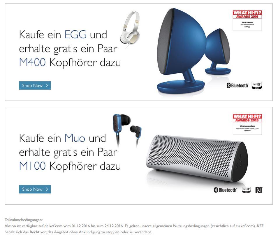 KEF Dezember Aktion - Kopfhörer gratis zu Bluetooth-Lautsprechern EGG oder Muo