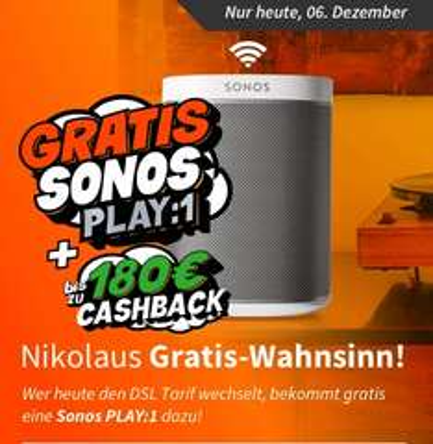 Telekom Magenta M mit DSL 50.000, bis  zu 349,96 Euro Cashback (+ 30 Euro  Shoop) + Sonos PLAY:1 - nur heute