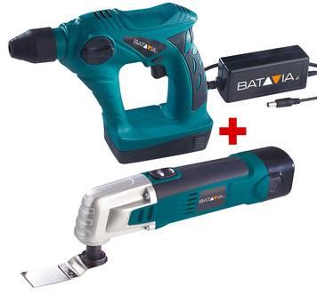 BATAVIA Pneumatik Bohrhammer 18 Volt LIIFO und 10,8 Volt Multifunktionswerkzeug Set
