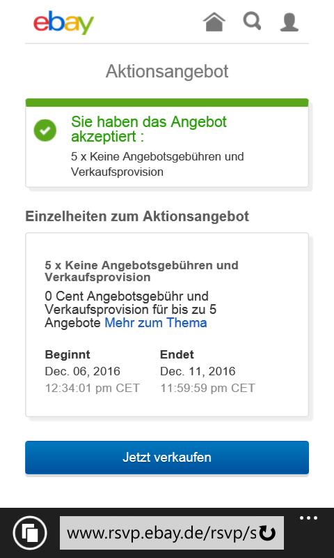 kostenlos einstellen + 0€ Verkaufsprovision @ebay für ausgewählte Verkäufer