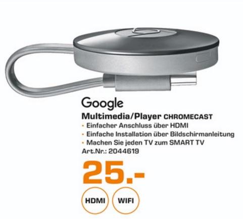 (Lokal) Google Chromecast für 25€ @ Saturn Kleve