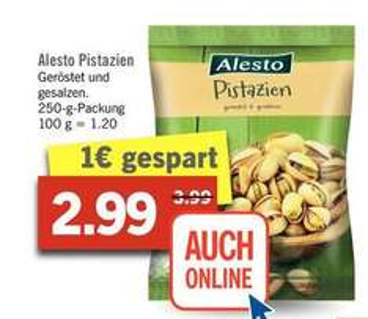[Lidl ab 12.12.] Alesto Pistazien für nur 2,99 Euro im 250g-Beutel (-25%)