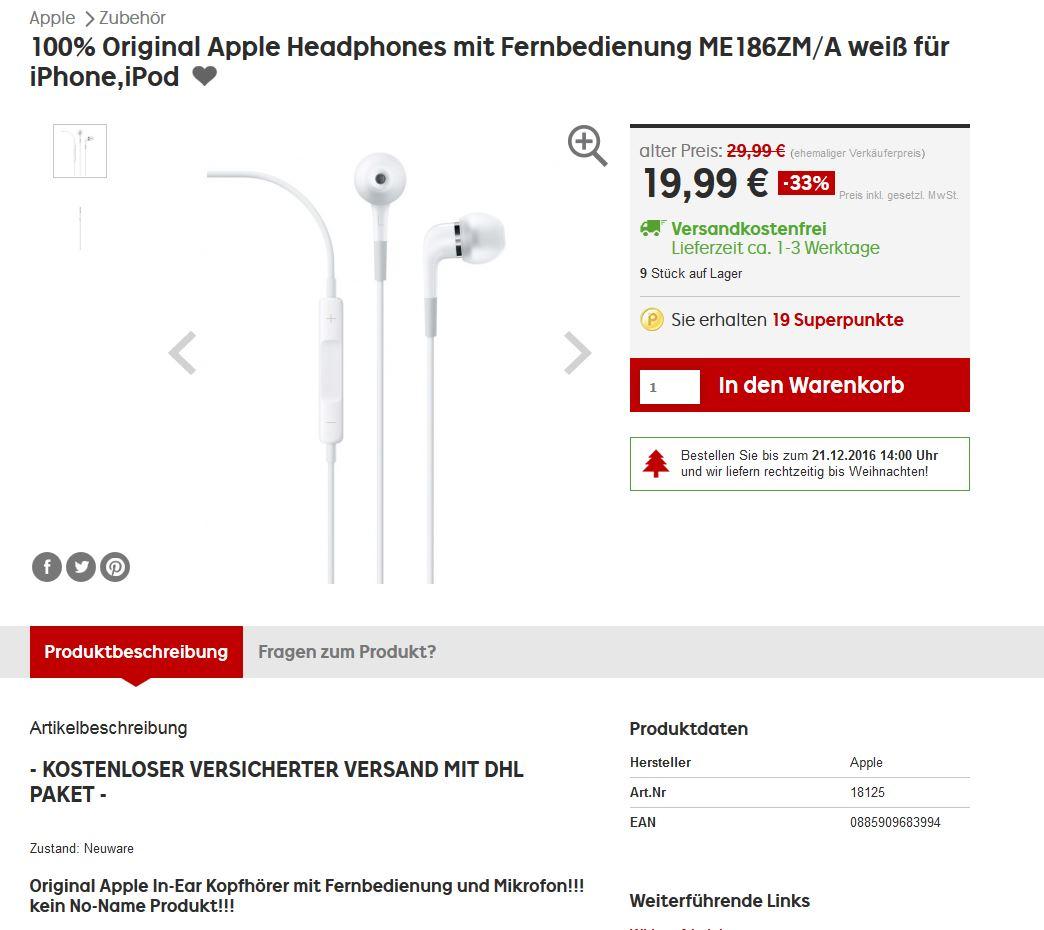 100% Original Apple Headphones mit Fernbedienung ME186ZM/A weiß
