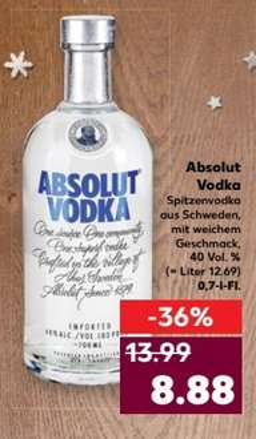 Kaufland nicht Bundesweit B/B, NRW Absolut Wodka 8,88€