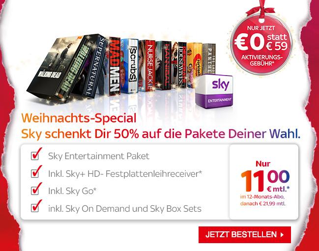Sky Entertainment für 11€ im Monat