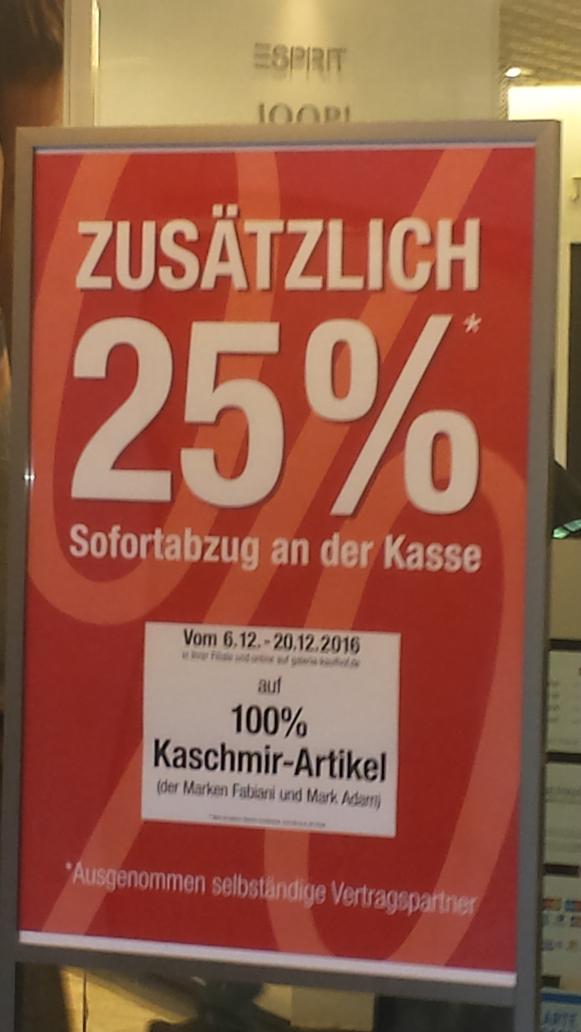 25% bei Kaufhof auf Kashmir von Fabiani und Mark Adam