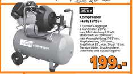 {Globus Baumärkte NRW} GÜDE 50108 Kompressor 401/10/50 für 199 € abholbar