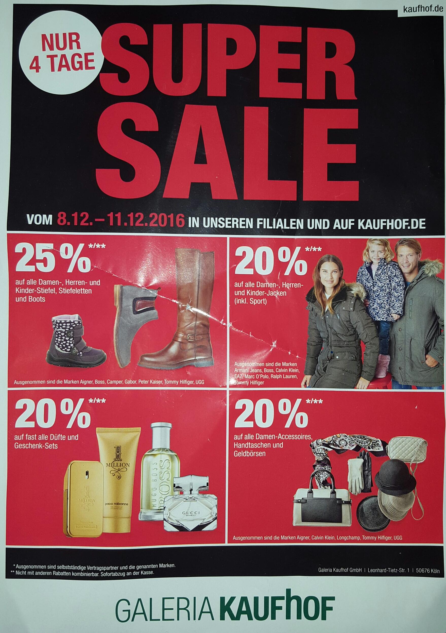 [Kaufhof Super Sale] 20% bzw. 25% Gutschein auf bestimmte Bereiche - Bundesweit in Filialen und online vom 8.12 bis 11.12