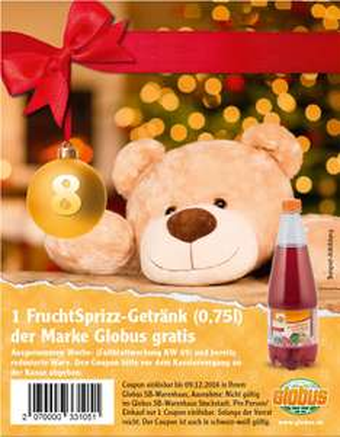 [Globus Adventskalender] 1 FruchtSprizz-Getränk (0,75l) der Marke Globus gratis
