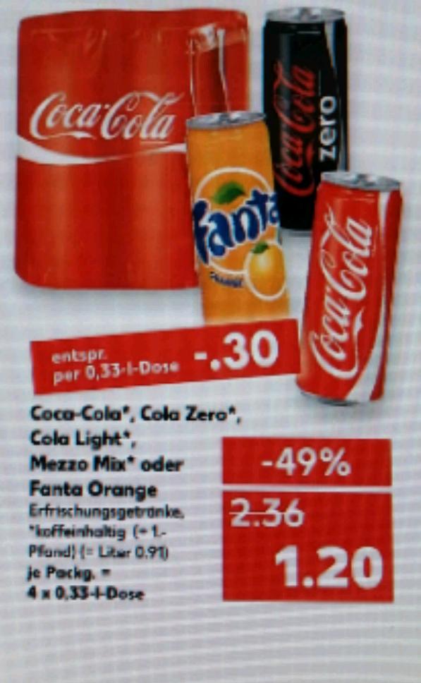 Kaufland Cola/Fanta/Zero/Light 4 Dosen für 1,20 €