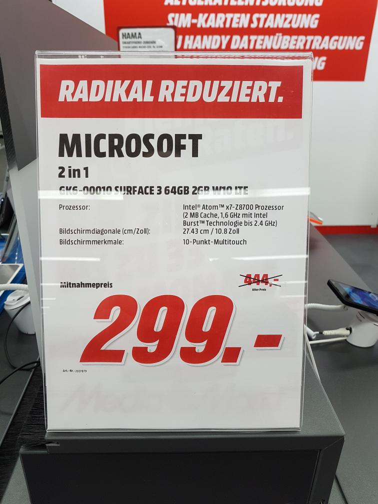 Surface 3 64 GB LTE Media Markt Esslingen  ( Regional )