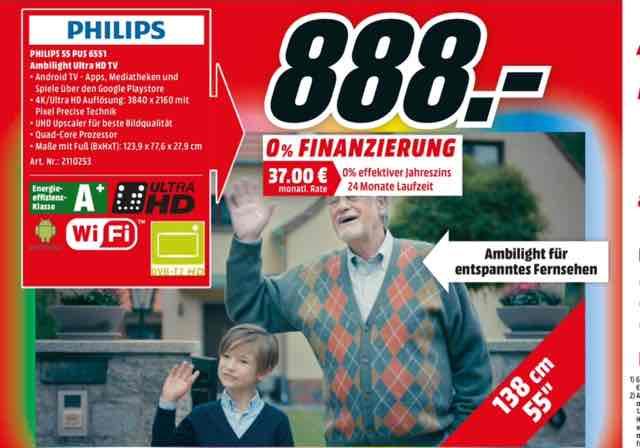 [Media Markt in Hamburg ] Philips 55 pus 6551 4K UHD ambilight 55 Zoll mit android tv Fernseher