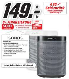 [Lokal Mediamarkt Amberg und Weiden] SONOS PLAY:?1, Smart Speaker für Wireless Music Streaming, Schwarz oder Weiß, Multiroom/?Smart Speaker für je 149,-€