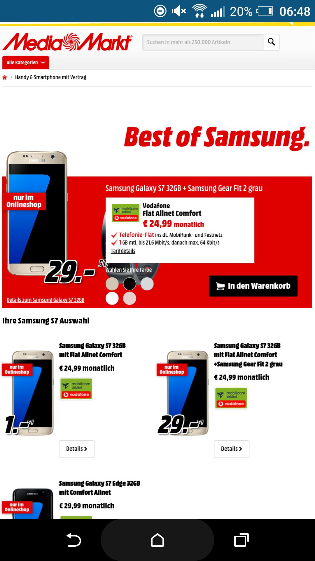 MM - Samsung Galaxy S7 32GB und Samsung Gear Fit 2 Größe L Dunkelgrau mit Flat Allnet Comfort Mobilcom Debitel