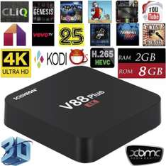 (Gearbest) SCISHION V88 Plus Android TV Box, RK3229 4x 1,5Ghz, Wlan, 2GB RAM, 8GB eMMC, 4K H.264/265, HDMI 2.0, Android 5.1) für 27,79€