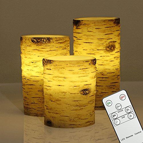 [Amazon Prime] Drei LED Echtwachskerzen in Birkenoptik mit 20% Rabatt