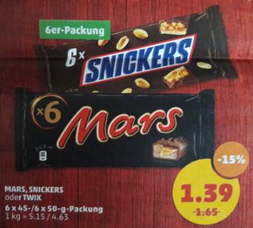 [Penny] Mars, Snickers oder Twix für nur 1,39 €