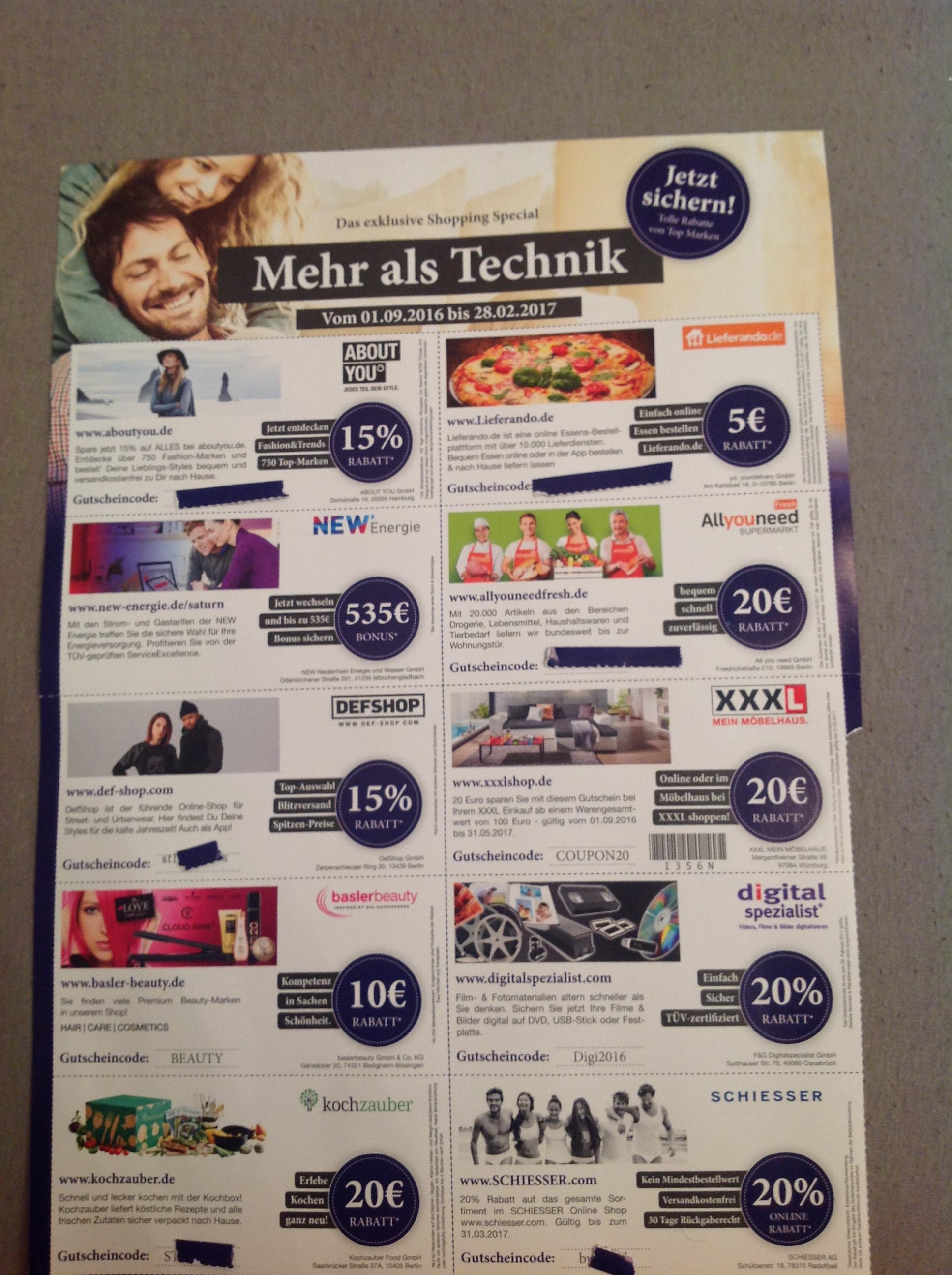 Saturn legt bei Lieferung Lieferando (5€ auch Bestand) und Allyouneed Fresh Gutscheine bei