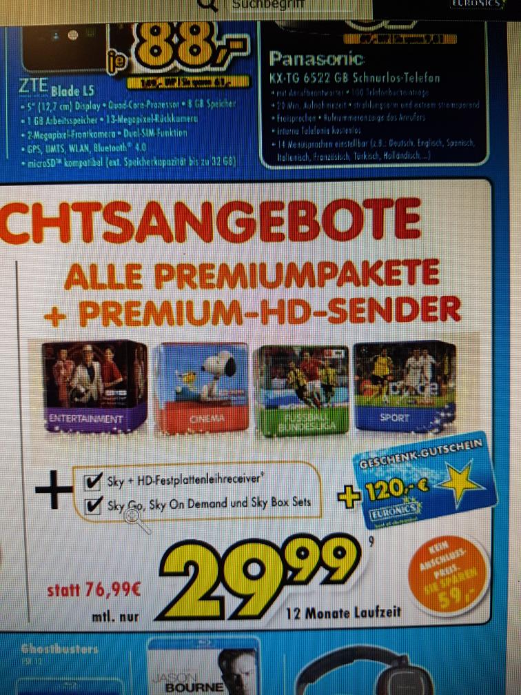 [LOKAL Euronics XXL Brumberg in Kamen] Sky Komplett 29,99 + 120 € Gutschein