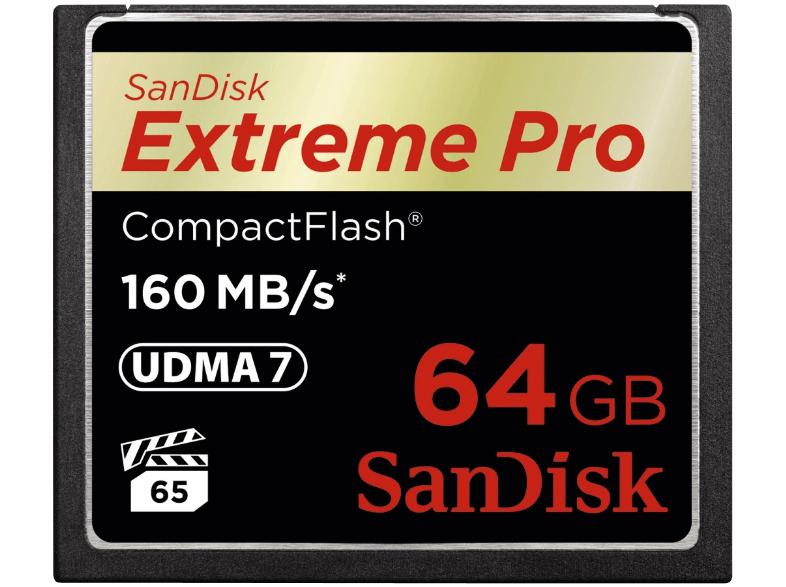 SANDISK Extreme Pro CompactFlash , 64 GB bei Amazon für 66 euro