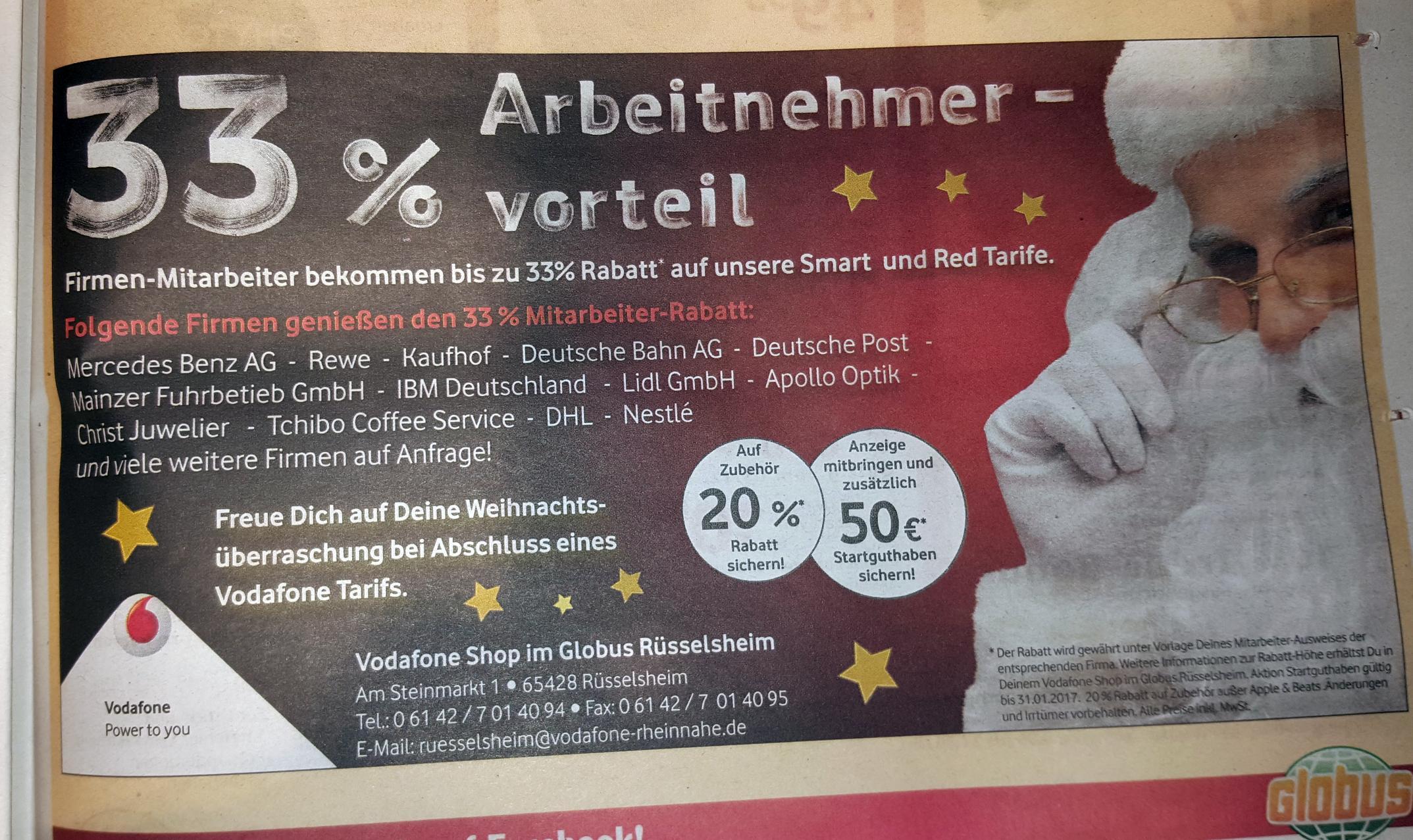 [Rüsselsheim] 33% auf alle Vodafone Smart und Red Tarife + 50€ Guthaben + Weihnachtsüberraschung