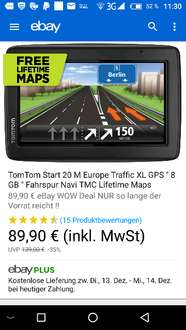 TomTom Start 20 M Europa Traffic  FREE Lifetime Maps 89 € Idealo 101€