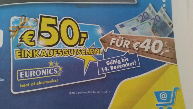 [Lokal, Euronics XXL] 50€ Gutschein für 40€