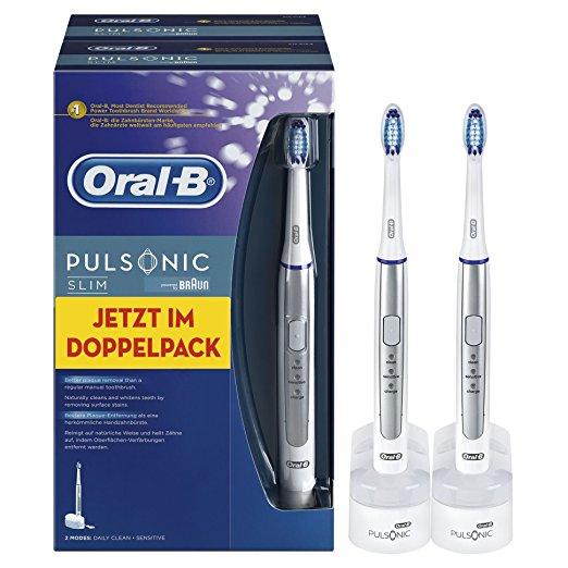 [Amazon] Oral-B: Elektrische Zahnbürsten und Aufsteckbürsten im Tagesangebot, z.B. Pulsonic Slim im Doppelpack für 66,39€