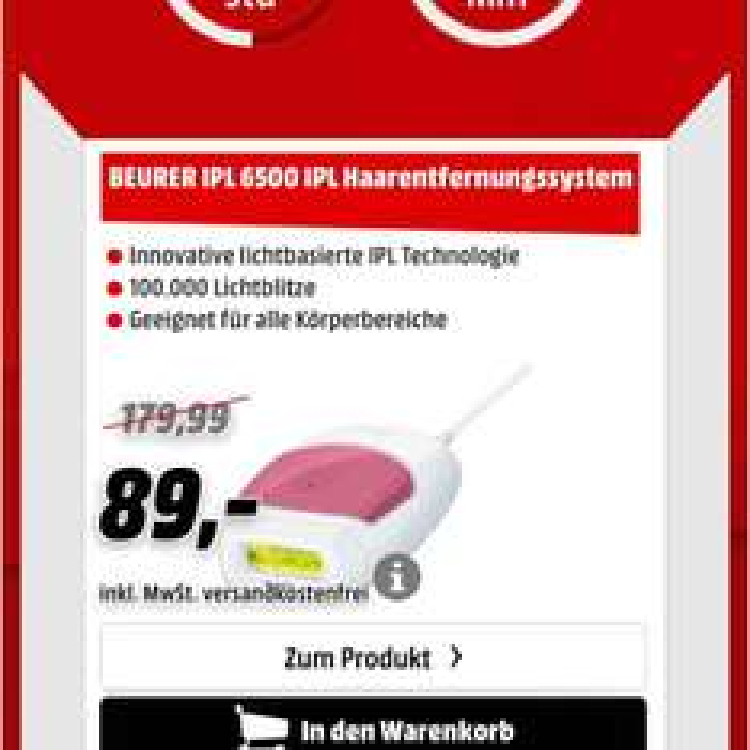 [Mediamarkt Adventskalender Online] bis Morgen, 12.12. 09.00 Uhr Beurer IPL 6500 VSK-Frei