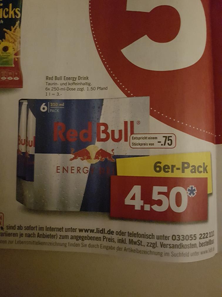 Lidl offline Red Bull 6er Packung 250ml 4,50€ Pfand nicht inklusive