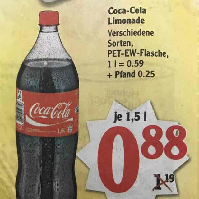 [Offline-Bundesweit] Globus Coca-Cola 1,5l für 0,88€