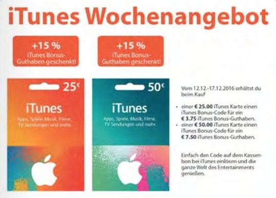 (offline) 15% iTunes Bonus Guthaben bei Müller