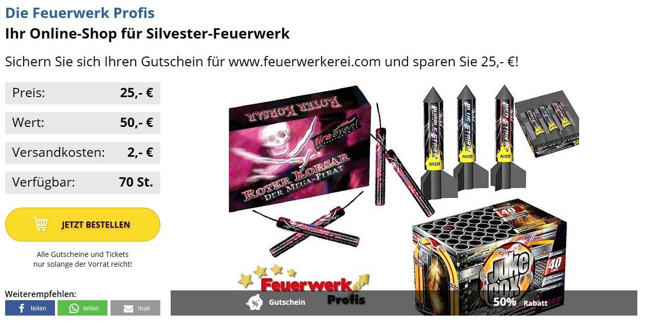 50€ Gutschein für Pyro-Shop feuerwerkerei.com für 27,00€