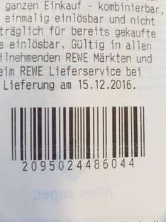 10 x Punkte REWE am 15.12.2016 Payback