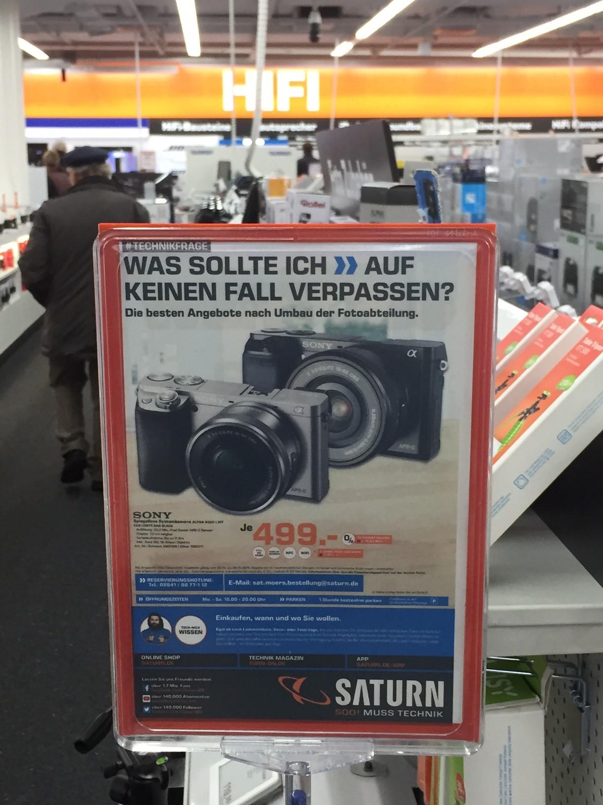 Lokal Saturn Moers aber mit deutschlandweiter Versand Sony A 6000 mit Objektiv und Tasche für 499€